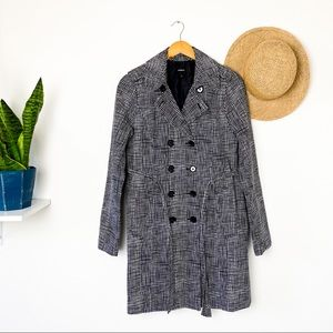 Express Classic Trench Coat Black White Grid